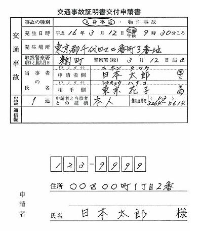 交通事故証明書の申請用紙